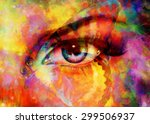 color butterflies and woman eye ... | Shutterstock . vector #299506937