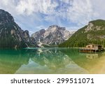 beautiful lake braies in... | Shutterstock . vector #299511071