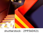 staircase painted in red.... | Shutterstock . vector #299560421