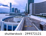 park lot and modern skyline at... | Shutterstock . vector #299572121