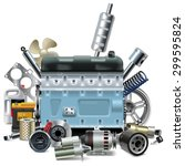vector engine with car spares | Shutterstock .eps vector #299595824