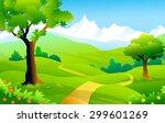 green mountain landscape | Shutterstock .eps vector #299601269