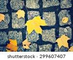 cobblestone pavement and yellow ... | Shutterstock . vector #299607407