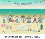 beach huts   summer poster and... | Shutterstock .eps vector #299627087