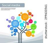 technology tree social media... | Shutterstock .eps vector #299633561