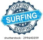 surfing blue round grunge stamp ... | Shutterstock .eps vector #299640359