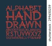 chalk sketched striped alphabet ...   Shutterstock .eps vector #299650259