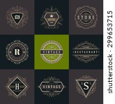 set of monogram logo template... | Shutterstock .eps vector #299653715