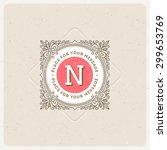 monogram logo template with... | Shutterstock .eps vector #299653769