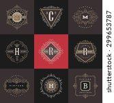 set of monogram logo template...   Shutterstock .eps vector #299653787