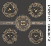 set of monogram logo template... | Shutterstock .eps vector #299653805
