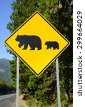 Bear Crossing Warning Road Sig...