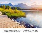 lake strbske pleso in high... | Shutterstock . vector #299667455