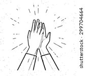 two hands giving a high five... | Shutterstock .eps vector #299704664
