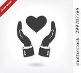 pictograph of heart in hand...   Shutterstock .eps vector #299707769