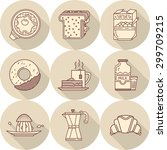 food and drink flat design line ... | Shutterstock .eps vector #299709215