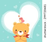 cute bear and a little bird... | Shutterstock .eps vector #299720681