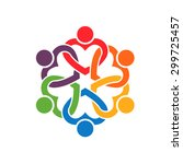 group of people interlaced... | Shutterstock . vector #299725457