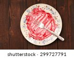 Empty White Plate With Red...