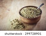 bowl of shelled hemp seeds on... | Shutterstock . vector #299728901