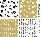 hand draw black  white and gold ... | Shutterstock .eps vector #299756384