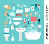 big set of hygiene  bath ... | Shutterstock .eps vector #299765294