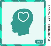 human profile with heart vector ... | Shutterstock .eps vector #299767379