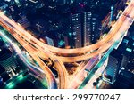 Aerial view of a massive highway intersection at night in Shinjuku, Tokyo, Japan - stock photo