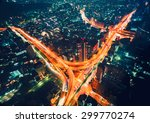 aerial view cityscape at night... | Shutterstock . vector #299770274