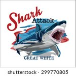 toothy great white shark.... | Shutterstock .eps vector #299770805