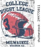 College rugby team retro print. Graphic design for t-shirt.