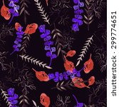 seamless pattern with tropical... | Shutterstock . vector #299774651