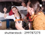 handsome mechanic and beautiful ... | Shutterstock . vector #299787275