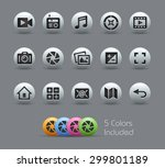 media interface icons    pearly ... | Shutterstock .eps vector #299801189