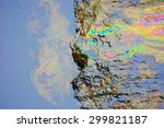 rainbow reflection of crude oil ... | Shutterstock . vector #299821187