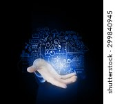 businessman hand presenting... | Shutterstock . vector #299840945