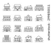 vector home icons set | Shutterstock .eps vector #299850011