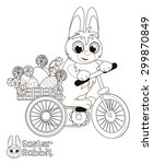 easter bunny on a bike carrying ... | Shutterstock .eps vector #299870849