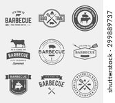 vector set of barbecue labels ...   Shutterstock .eps vector #299889737