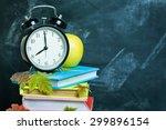 stack of books on a desk for... | Shutterstock . vector #299896154