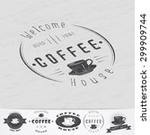 coffee shop and cafe. the food...   Shutterstock .eps vector #299909744