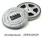 film reel and box. video  movie ... | Shutterstock . vector #299910929