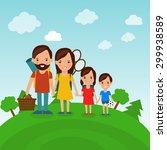 family picnic flat style... | Shutterstock .eps vector #299938589