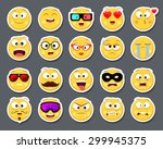 set of 20 cute smiley faces... | Shutterstock .eps vector #299945375