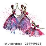 watercolor ballerinas in...   Shutterstock . vector #299949815