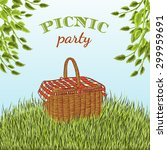 picnic party in meadow with... | Shutterstock .eps vector #299959691