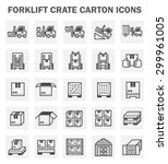 forklift carton and crate icons ... | Shutterstock .eps vector #299961005