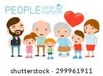 family group portrait parents... | Shutterstock .eps vector #299961911