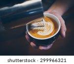 how to make coffee latte art | Shutterstock . vector #299966321