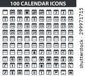100 calendar icons set